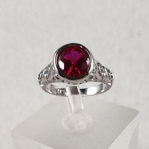 Sterling Bezel Set Red Ring